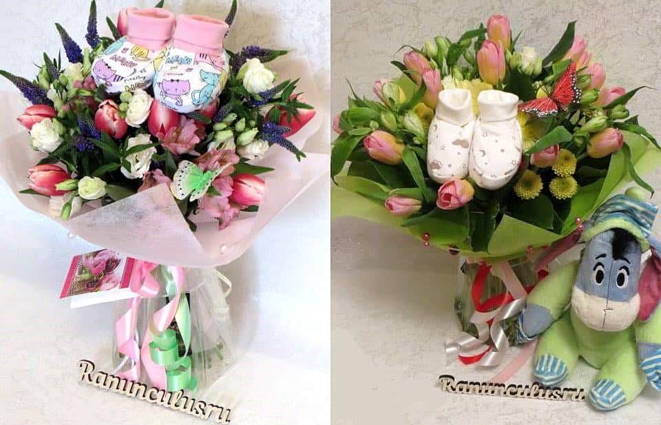 Букеты цветов с пинетками