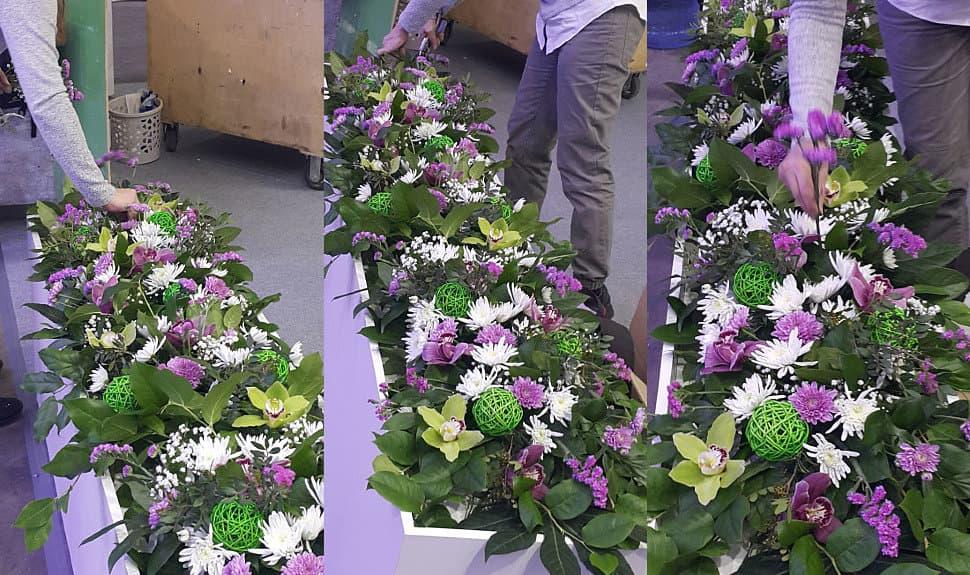 Работа флориста при монтаже цветочной композиции