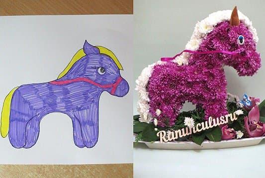Лошадка изготовленная по детскому рисунку